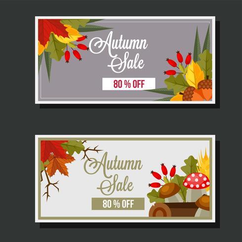 herfst verkoop vlakke stijl bladeren banner paddestoel log vector