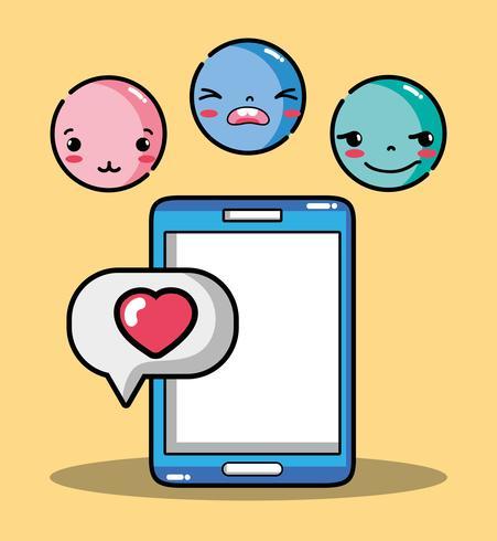 smartphone met emoji emotie gezichten karakter vector