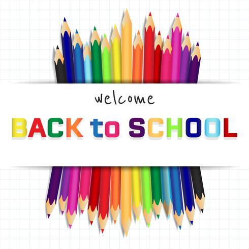 Terug naar school, onderwijs concept achtergrond met schattige kleur potloden vector