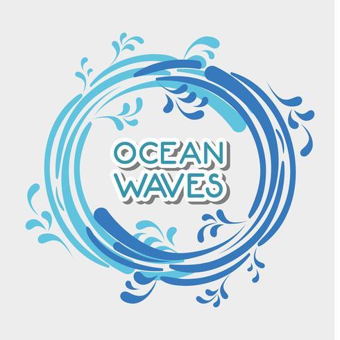 oceaan golven in cirkel vormen ontwerp vector