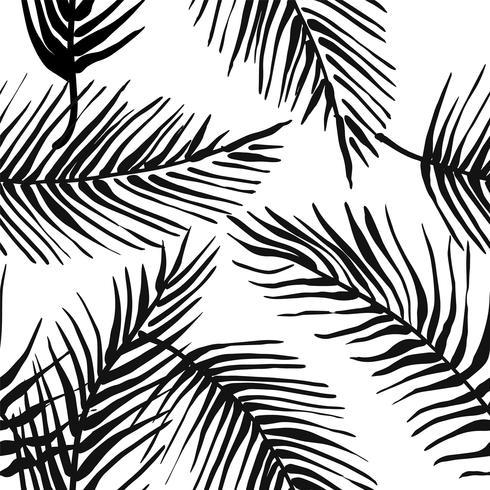 Abstract creatief naadloos patroon met tropische planten en artistieke achtergrond. vector