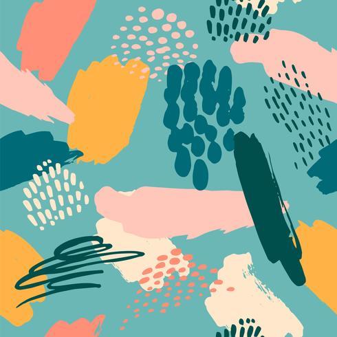 Abstract artistiek naadloos patroon met trendy hand getrokken texturen vector