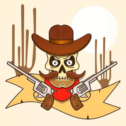 wilde westen schedel bandiet met pistolen vector
