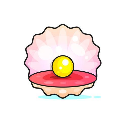 Fijnste kwaliteit Mooie natuurlijke Open Pearl Shell Close-up Realistische Enkele Waardevolle Object Afbeelding Vector