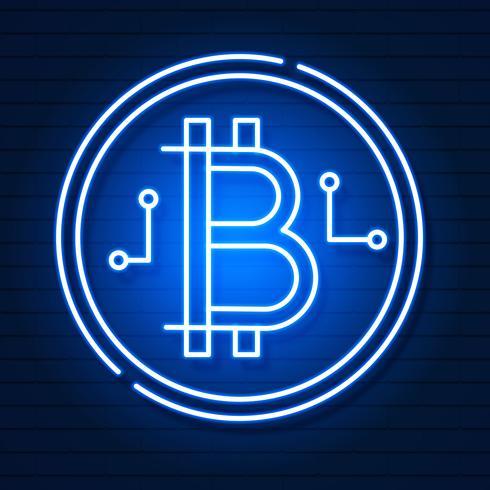 Neonbitcoinsymbool op zwart achtergrondlichteffect. Digitaal geld, mijnbouwtechnologieconcept. Vector pictogram.