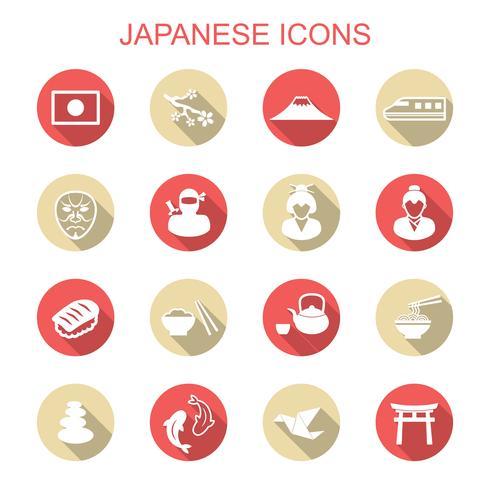 Japanse lange schaduw pictogrammen vector