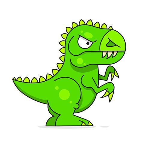 Leuke groene dinosaurus die op witte achtergrond wordt geïsoleerd. Grappig stripfiguur vector