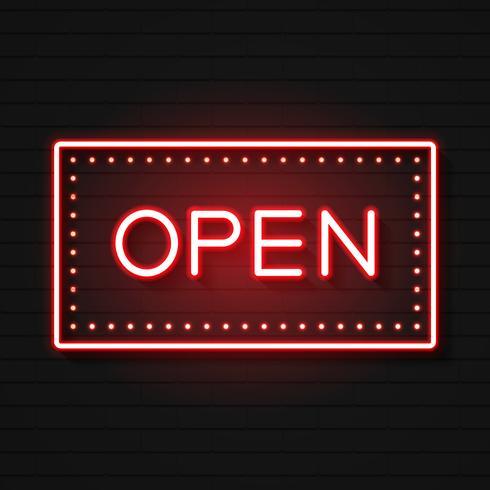 Open neonreclame. Klaar voor uw ontwerp, wenskaart, banner. Vector
