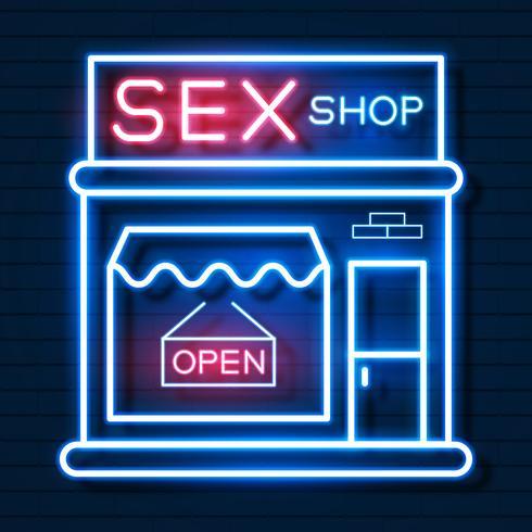 Sex Shop Now Neonreclame. Klaar voor uw ontwerp, wenskaart, banner. Vector