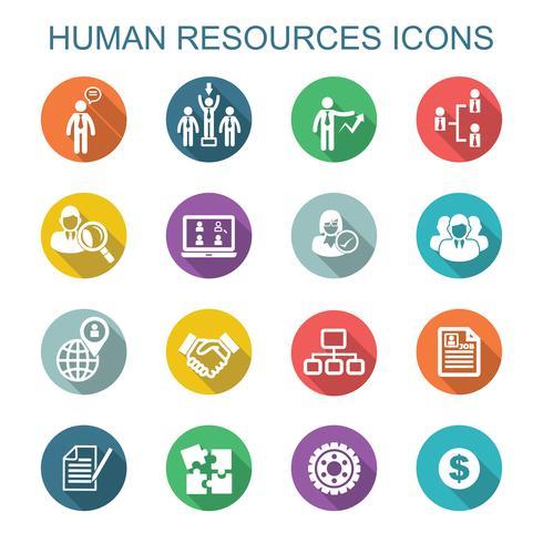 menselijke hulpbronnen lange schaduw pictogrammen vector