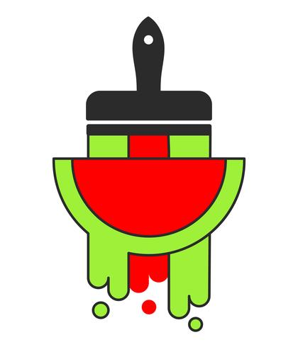 Vector Slice Watermelon. Fruit Illustratie Voor Farm Market Menu. Gezond eten