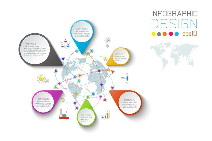 Bedrijfs aanwijsapparaat etiketten vorm infographic rond de kaart van de wereld. vector