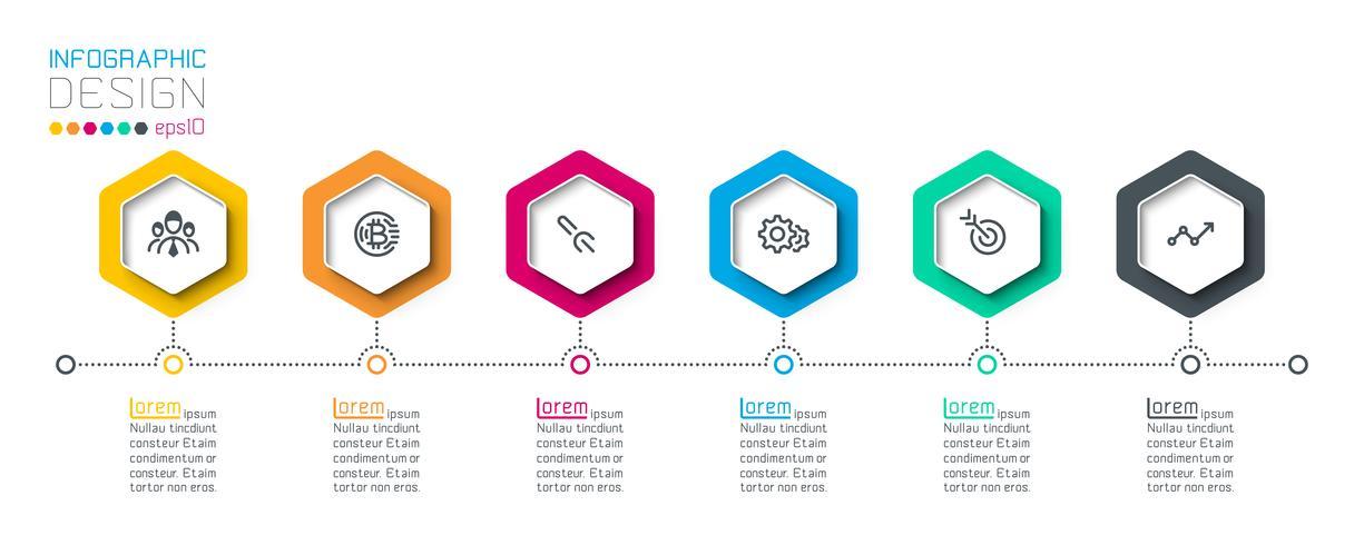 Zakelijke hexagon-labels vormen een infographic-groepenbalk. vector