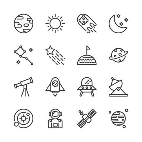 Ruimte pictogramserie. Vectorillustratie vector