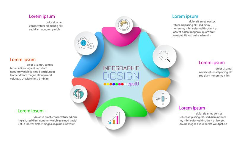 Zakelijke infographic met 6 stappen. vector