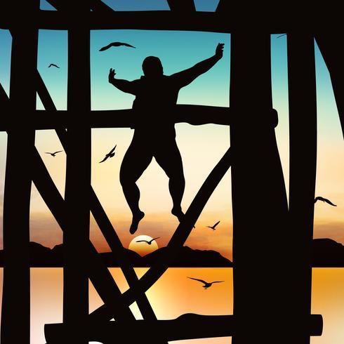 Silhouet en springend meisje in de schemering met blauwe hemel. vector