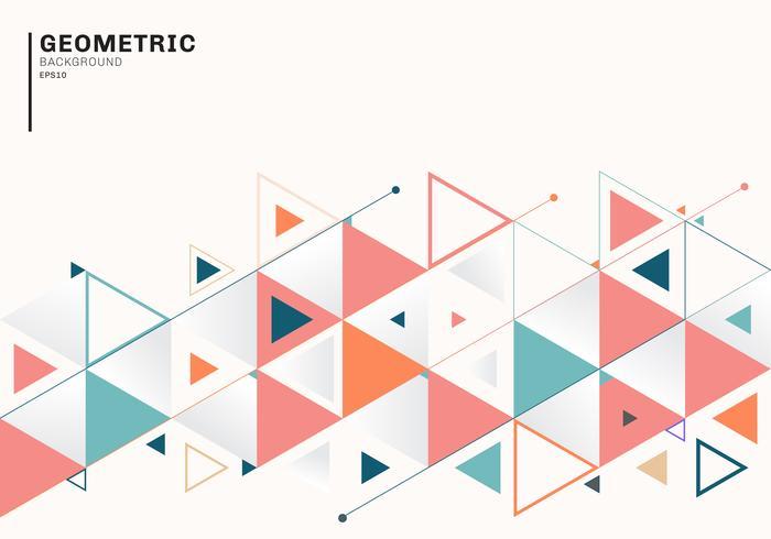 Abstract achtergrondmalplaatje met kleurrijke driehoeken en pijlen voor zaken en communicatie in vlakke stijl. Geometrisch patroon minimaal ontwerp. vector
