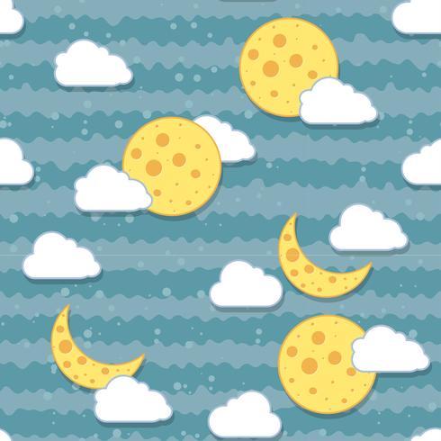Naadloze maan in het nachtpatroon. vector