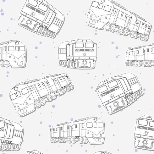 Naadloze trein schets patroon. vector
