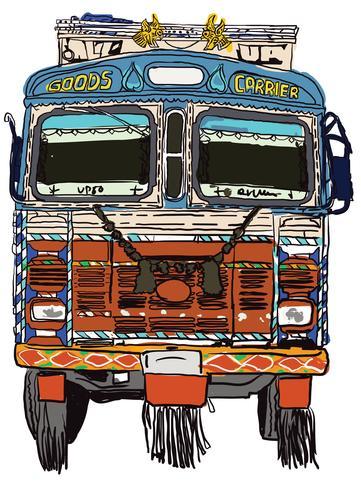 Indische vrachtwagen Front Vector