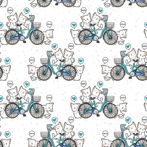 Naadloze kawaiikatten en fietspatroon vector