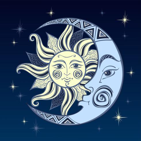 De maan en de zon. Oud astrologisch symbool. Gravure. Boho stijl. Etnisch. Het symbool van de dierenriem. Mystiek. Vector. vector