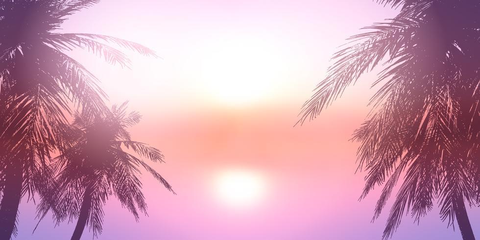 Palmen tegen een zonsondergang oceaanlandschap vector