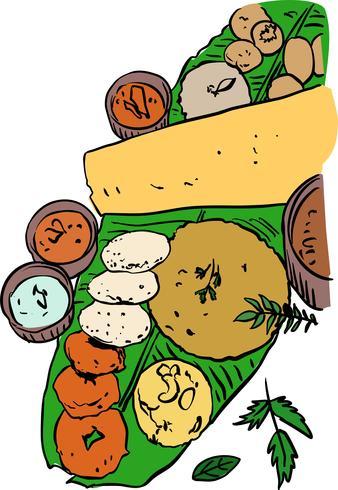 Zuid-Indiase voedsel vectorillustratie vector