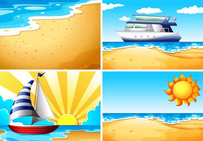 Natuurscènes met strand en oceaan vector