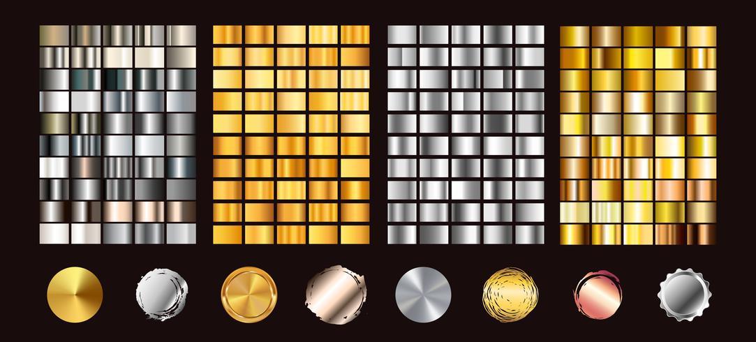 Grote collectie kleurrijke hellingen. Metaalgradiënten bestaande achtergronden. Vector. vector