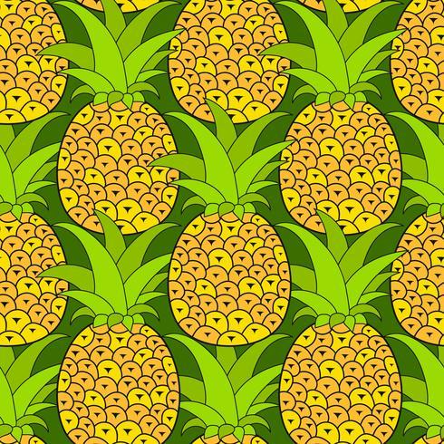Ananassen naadloos patroon. Tropische achtergrond. Vector illustratie.