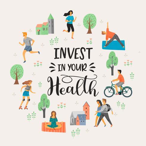 Vector tempale met mensen die een actieve gezonde levensstijl leiden.