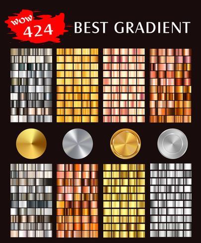 Grote vectorinzameling van kleurrijke gradiënten kleurrijke metaalgradiënten die achtergronden bestaan. vector