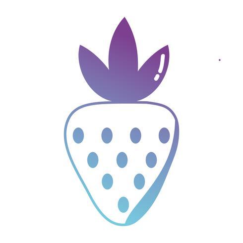 silhouet heerlijke aardbeien biologische fruit eten vector
