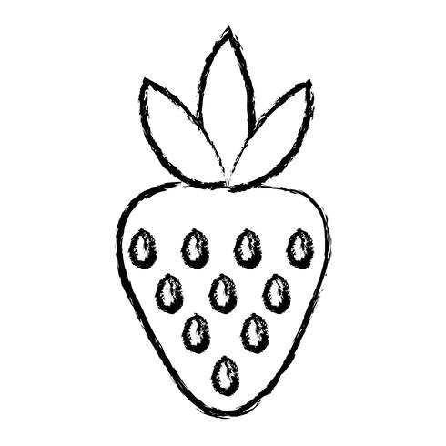 figuur heerlijke aardbeien biologische fruit eten vector