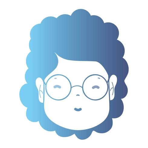 lijn avatar vrouw hoofd met kapsel vector