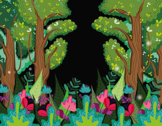 Prachtig bos 's nachts vector