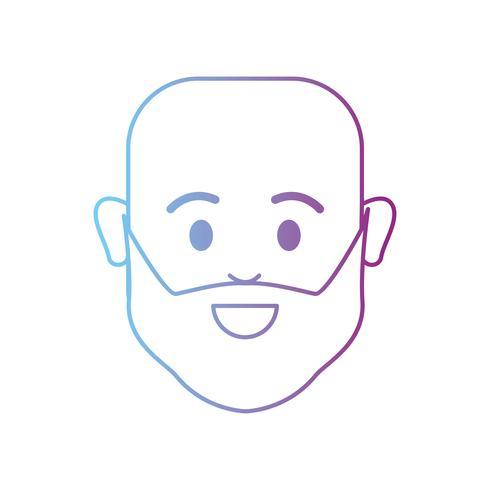 lijn avatar man hoofd kaal met baard vector
