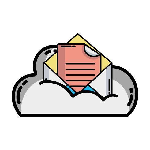 cloudgegevens en kaart met documentinformatie vector