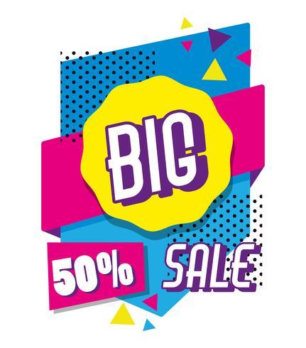 Grote verkoop het winkelen affiche de stijl van Memphis vector