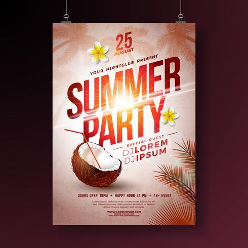 Vector zomer feest folderontwerp met bloem, kokosnoot en tropische palmbomen op glanzende zonsondergang achtergrond. Zomervakantie illustratie met exotische planten