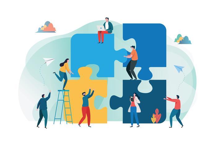 Teamwork succesvol samen concept. Bedrijfsmensen die het grote puzzelstuk houden. Platte cartoon illustratie vector. vector