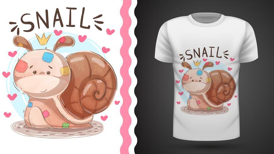 Teddy slak - idee voor print t-shirt vector