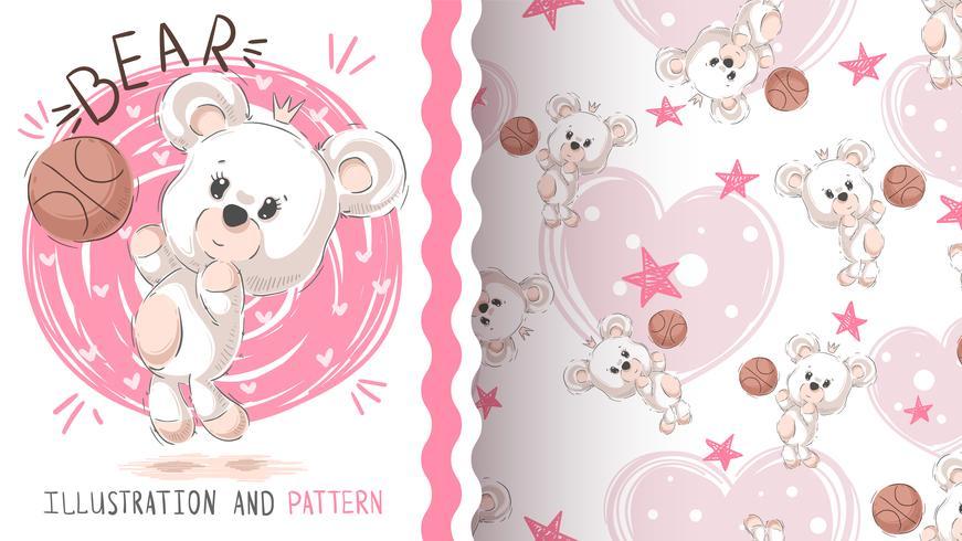 Leuke teddybeer - naadloos patroon vector