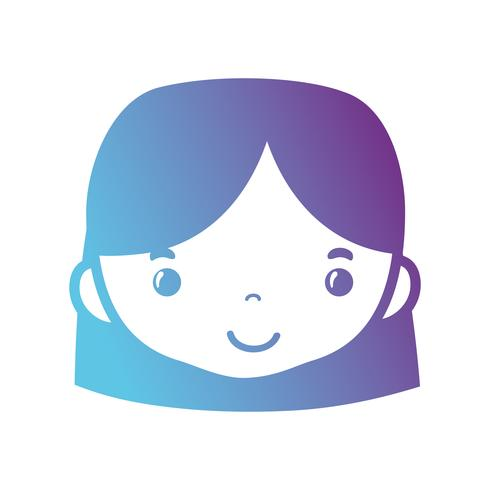lijn avatar vrouw hoofd met kapsel ontwerp vector