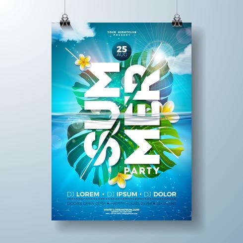 Zomer partij flyer ontwerpsjabloon met tropische palmbladeren en bloem op blauwe onderwater oceaan achtergrond. vector