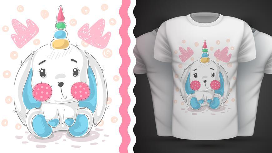 Happer Pasen, konijn, eenhoorn - idee voor print t-shirt vector