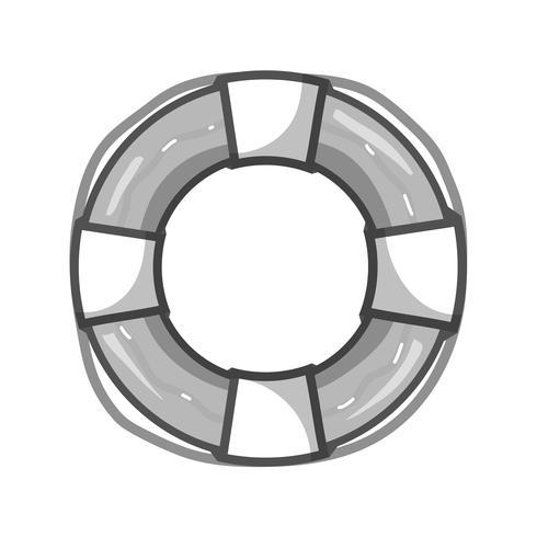 grijswaarden reddingsboei object voor beveiligingssituatie vector