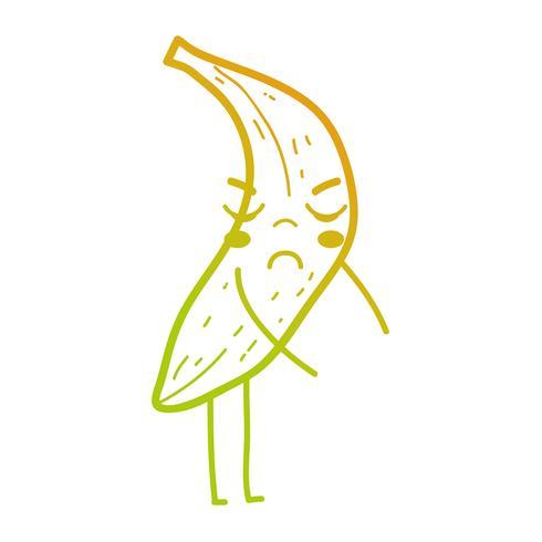 lijn kawaii schattig boos bananen fruit vector