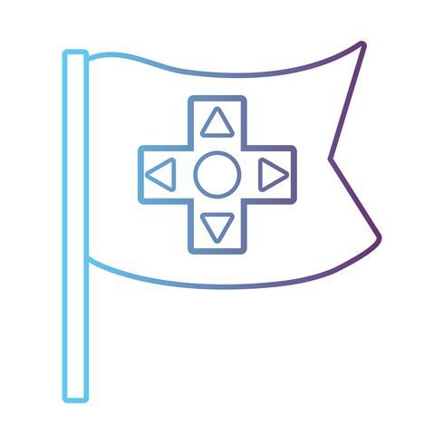 lijnvlag met knoppencontrollertechnologie vector